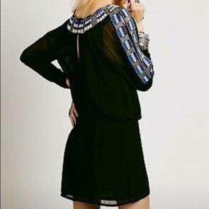 Free People Black Beaded Embellish Tunic Dress 4